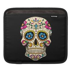 Shop Day of the Dead Sugar Skull with Cross iPad Sleeve created by BlackBrookElectronic. Personalised Gifts For Him, Personalized Birthday Gifts, Customized Gifts, Custom Gifts, Colorful Skulls, Skull Pictures, Ipad Sleeve, Shopping Day, Day Of The Dead