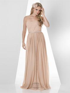 Strapless Pleated Bodice Beaded Waist Bridesmaid Dresses