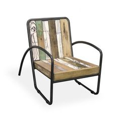 Reclaimed Wood Armchair With Industrial D Arm Vintage Industrial, Industrial Style, Outdoor Chairs, Outdoor Furniture, Outdoor Decor, Retro Armchair, Wood Arm Chair, Sofas, Armchairs