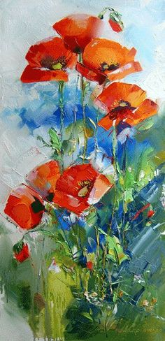 Painting «Not titled Abstract Flowers, Watercolor Flowers, Watercolor Paintings, Arte Floral, Oeuvre D'art, Art Oil, Painting Inspiration, Painting & Drawing, Knife Painting