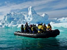 Zodiac excursion among the icebergs at Foyn Harbour in Wilhelmina Bay. Photograph by Ronald Owen #AuroraExpeditions