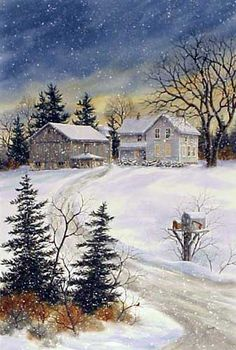 Evening Farm, a limited edition print of a watercolor painting by Kathy Glasnap Watercolor Landscape, Landscape Art, Landscape Paintings, Watercolor Art, Winter Pictures, Christmas Pictures, Christmas Scenes, Christmas Art, Winter Szenen