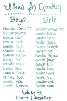 Baby Boy And Girl Name Combinations List Featuring Chandler For Brittany