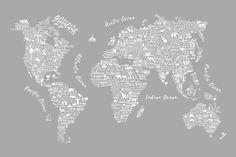 Revitalise your room with the cultures of the world through the Grey Typography Map Wall Mural. The tasteful wallpaper piece introduces a relaxed environment into any living or dining room with its delicate colours and intricate pattern. The beautiful idea adopted by the wall mural is an ideal, calming touch for any room.