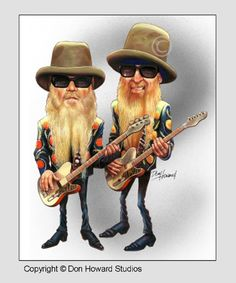 ZZ Top Limited Edition Celebrity Caricature by Don Howard by… - celebrities funny Cartoon Faces, Funny Faces, Cartoon Art, Cartoon Characters, Cartoon Drawings, Caricature Artist, Caricature Drawing, Drawing Faces, Funny Caricatures