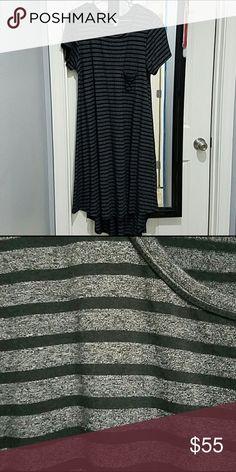 LuLaRoe Carly Dress NWT Gray & Black Stripe NWT super cute just not my size! LuLaRoe Dresses