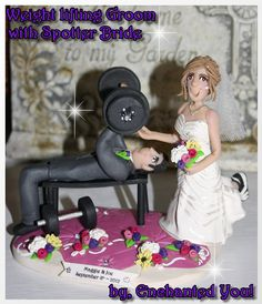 Weight Lifting Groom with Spotter Bride, Wedding Cake Topper, Persoanlized this is cuteeeeee @Bridget English