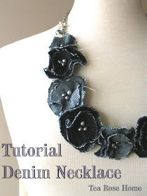 Tea Rose Home: Link Party No.85/ Denim flower necklace Scraps from Kendra's jean ornaments!