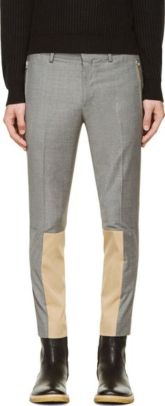 John Undercover: Gray Wool Combination Trousers | SSENSE