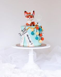 Fox Cake Baby First Cake, First Birthday Cake Topper, Hot Air Balloon Cake, Fox Cake, Cake Models, Woodland Cake, Happy Birthday Baby, Gorgeous Cakes, Cakes For Boys