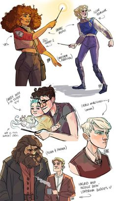 HP Sketches by artofpan on DeviantArt. The top designs look like they'd be cool Quidditch uniforms even though Hermione and Fleur don't play. Harry Potter Gif, Arte Do Harry Potter, Harry Potter Comics, Yer A Wizard Harry, Harry Potter Drawings, Harry Potter Marauders, Harry Potter Universal, Harry Potter World, Drarry