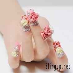 3D rose nail art