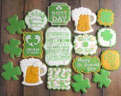 St Patrick's day shamrock beer mug Celtic name plaque Irish Cookies, Beer Cookies, St Patrick's Day Cookies, Cut Out Cookies, Holiday Cookies, Sugar Cookie Icing, Iced Sugar Cookies, Royal Icing Cookies, Cupcake Cookies