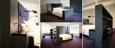 Custom size bed with integrated TV/AV equipment/bookcase/bedside tables/reading lights/fabric headboard