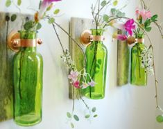 Colored Glass Bottle Trio Wall Decor each mounted on wood base for unique rustic decor for bedroom decor kitchen decor on Etsy, Colored Glass Bottles, Empty Glass Bottles, Recycled Glass Bottles, Glass Bottle Crafts, Old Bottles, Bottle Art, Beer Bottle, Diy Projects With Glass Bottles, Decorating With Glass Bottles