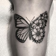 Half floral monarch butterfly for Karly 🦋🌸 half butterfly tattoo - # Dainty Tattoos, Bff Tattoos, Pretty Tattoos, Mini Tattoos, Cute Tattoos, Beautiful Tattoos, Body Art Tattoos, Tribal Tattoos, Small Tattoos