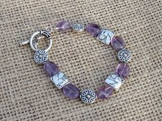 Beaded Horse Charm & Amethyst Toggle Bracelet by Itsallabouthorses