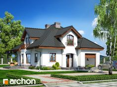 projekt - Dom w firletkach (P) [ ] Beautiful House Plans, Beautiful Homes, Brick Wallpaper Living Room, 2 Storey House, Simple House Design, Home Fashion, Bungalow, Building A House, New Homes
