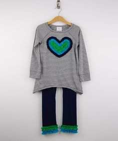 Love this Heather Gray Heart Tunic & Navy Leggings - Girls by Freckles + Kitty on #zulily! #zulilyfinds
