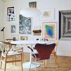 my scandinavian home: Dining room with gallery wall in the lovely Danish home of artist Anne Aarsland.