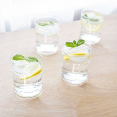 Personalized Low-Ball Drinking Glasses (Set of 4) (Tumbler Glasses, Set of 4), Clear