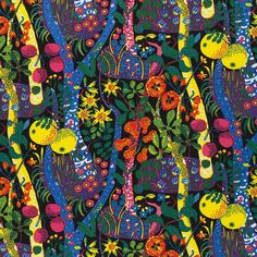 Josef Frank designed Tre Öar i Svarta Havet (Three Islands in the Black Sea in English) in The black background of the print represents the sea. - Textile Tre Öar i Svarta Havet, Linen Tre Öar i Svarta Havet, Josef Frank Josef Frank, Color Patterns, Print Patterns, Floral Patterns, Pattern Print, Textile Museum, Forest Illustration, Textiles, Fabric Samples