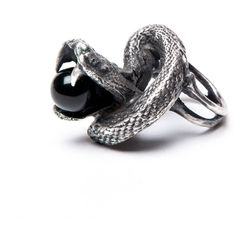 The Darkness Sheds Like Snakeskin: Onyx Snake Ring – Blood Milk Jewels ($275) ❤ liked on Polyvore featuring jewelry, rings, jewels jewelry, snakeskin jewelry, snake jewelry, coiled snake ring and dark ring
