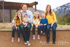 Brianna Siddoway Photography: Utah Family Photography, Family of 6 posing, Family of 6, Blue and Yellow, Outdoor Family Photography.