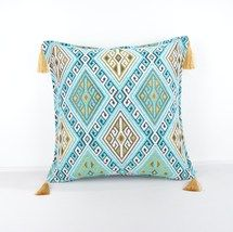 16x16'' Fabric kilim Style pillow turguoise pillow, Decorative Fabric Pi... - $13.00