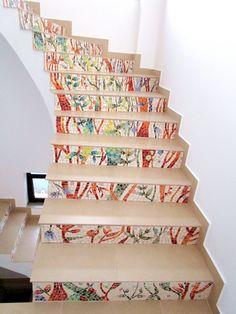 """Natura"" - mozaic amplasat pe contratrepte - Coloranda Mural Art, Art Projects, Stairs, Floral, Home Decor, Art Designs, Ladders, Homemade Home Decor, Wall Art"