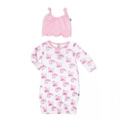 Print Layette Gown & Ruffle Knot Hat Set in Natural Ballet Box