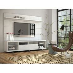 Cabrini White Gloss Tv Panel Only Manhattan Comfort Tv Mounts & Swivels Tv Stands & Cabine