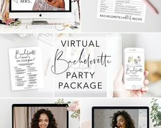 Celebrate online with all your girls. This bachelorette party package includes: invitation, games, props, recipe card and virtual background. Party Package, Bachelorette Weekend, Recipe Cards, Your Girl, Getting Married, How To Memorize Things, Etsy Seller, Invitations, Bride