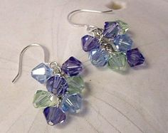 Handmade Swarovski Hydrangea Crystal Earrings, Sterling Silver, Dangle earrings, Cascade earring, Cluster earring, summer earrings