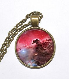 HORSEHEAD NEBULA Necklace, Orion Constellation, Milky Way, Galaxy, Space, Universe, Art Pendant Necklace, Glass Pendant, Handmade Jewelry