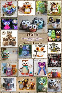 Owl Toys - Roundup of crochet patterns (free & paid) via by nanette Owl Crochet Patterns, Crochet Birds, Owl Patterns, Cute Crochet, Crochet Animals, Amigurumi Patterns, Crochet Crafts, Crochet Baby, Crochet Projects
