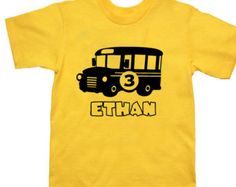 Personalized School Bus BIrthday Shirt - School Bus Party Shirt - Pick your colors!