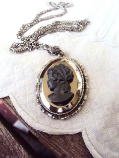 Vintage 60s Cameo Necklace Mirror Setting by primitivepincushion
