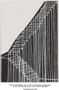 Rachel Whiteread, Stairs, 1995 Correction fluid on black paper x Gagosian Gallery Rachel Whiteread, Gagosian Gallery, Scribble Art, Observational Drawing, Black Paper, Fabric Manipulation, Mark Making, Contemporary Artists, Line Art