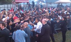 President Obama greeting his supports at the Moving America forward rally in Germantown with President Obama. 10/10/10
