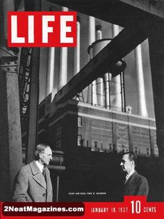 Life Magazine January 18, 1937 : Cover photo of Henry and Edsel Ford at Dearborn.