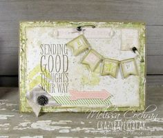 Melissa Cochran: Crazy Paper Freak – Stylin' Stampin' INKspiration February Card Sketch! - 2/10/14.  (SU: Postage Due, Geometrical, Postage Collection, Lovely Little Labels, Postcard, Banner Blast, Peachy Keen, Perfect Pennants stamps; Banner punch). (Pin#1: Swags...  Pin+: Geometric...).