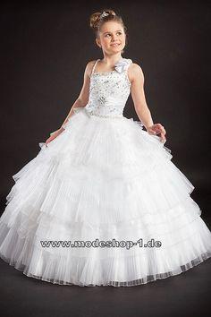 Prinzessin Belle Ballkleid Abendkleid für Mädchen in Weiss Blumenmädchenkleid  www.modeshop-1.de