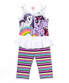 Look what I found on #zulily! White & Purple Pony Friends Tunic & Leggings - Girls by My Little Pony #zulilyfinds