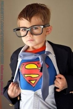 Leyton was superman for Halloween so I took a picture of him dressed like this as Clark Kent tearing open his shirt and it has got to be one of the best pictures I have ever taken of him! He is obsessed with superman and well all super heros! Photo Halloween, Amazing Halloween Costumes, Halloween Kids, Halloween Party, Superman Halloween, Homemade Halloween, Halloween Clothes, Boys Superman Costume, Halloween Costume 10 Year Old Boy