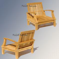 Teak Outdoor Patio Deep Seating Lounge Chair - Bali Lounge Chair
