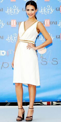 Alba walked the carpet at the Giffoni Film Festival in a knee-length LWD, gold hoops and leather sandals.