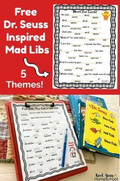 Share wonderful giggles with your kids using these free Dr. With 5 different themes you'll have tons of fun. Great for parties classroom library homeschool & family fun! Dr Seuss Game, Dr Seuss Week, Dr Suess, Dr Seuss Activities, Indoor Activities For Kids, Summer Activities, Book Activities, Free Mad Libs, Dr Seuss Printables