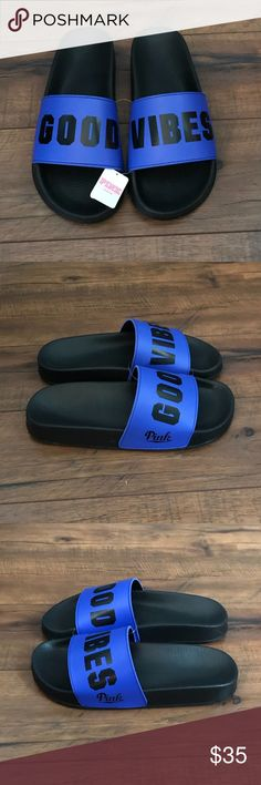 💥NEW Victorias Secret PINK blue slide sandals Victorias Secret PINK 'Good Vibes' blue slide sandals  •Great for the warm weather! •New with tags! •Size Med (7-8)  👣Check out more sandals in my closet 👣 ⚜️ Same/next day ship ⚜️ 🐲 Smoke-free 🐲  I do not discuss price in the comments #7 PINK Victoria's Secret Shoes Sandals