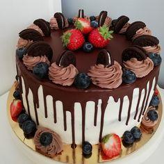 Oreo Cake, Blueberry, Panna Cotta, Strawberry, Birthday Cake, Chocolate, Baking, Ethnic Recipes, Desserts